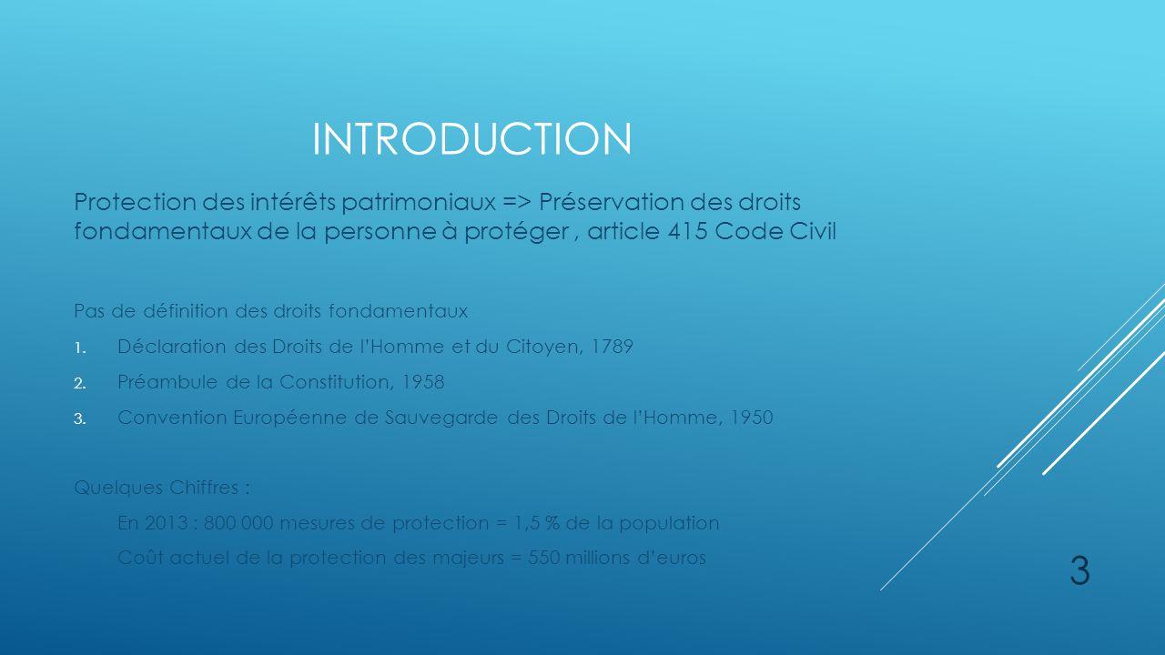 introduction Protection des intérêts patrimoniaux => Préservation des droits fondamentaux de la personne à protéger , article 415 Code Civil.