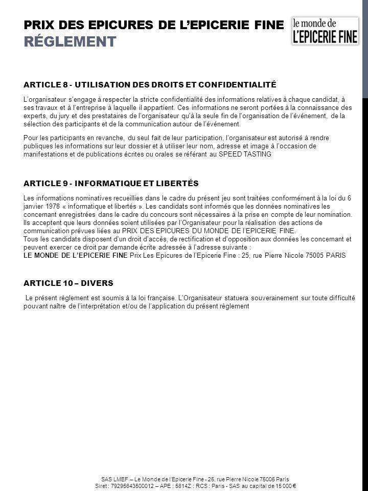 prix DES EPICURES DE l'EPICERIE FINE Réglement