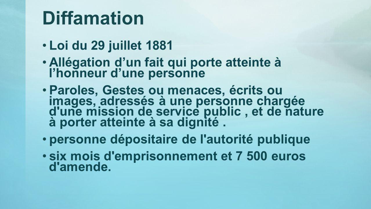 Diffamation Loi du 29 juillet 1881