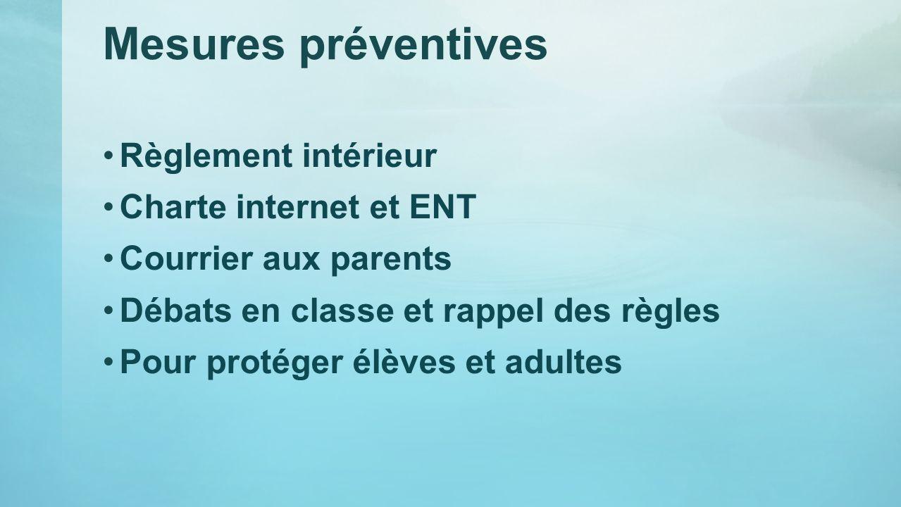 Mesures préventives Règlement intérieur Charte internet et ENT