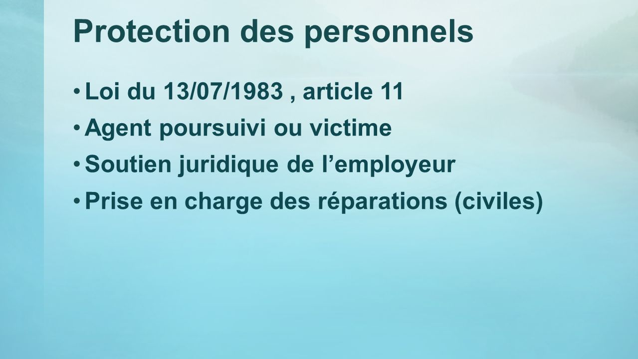 Protection des personnels