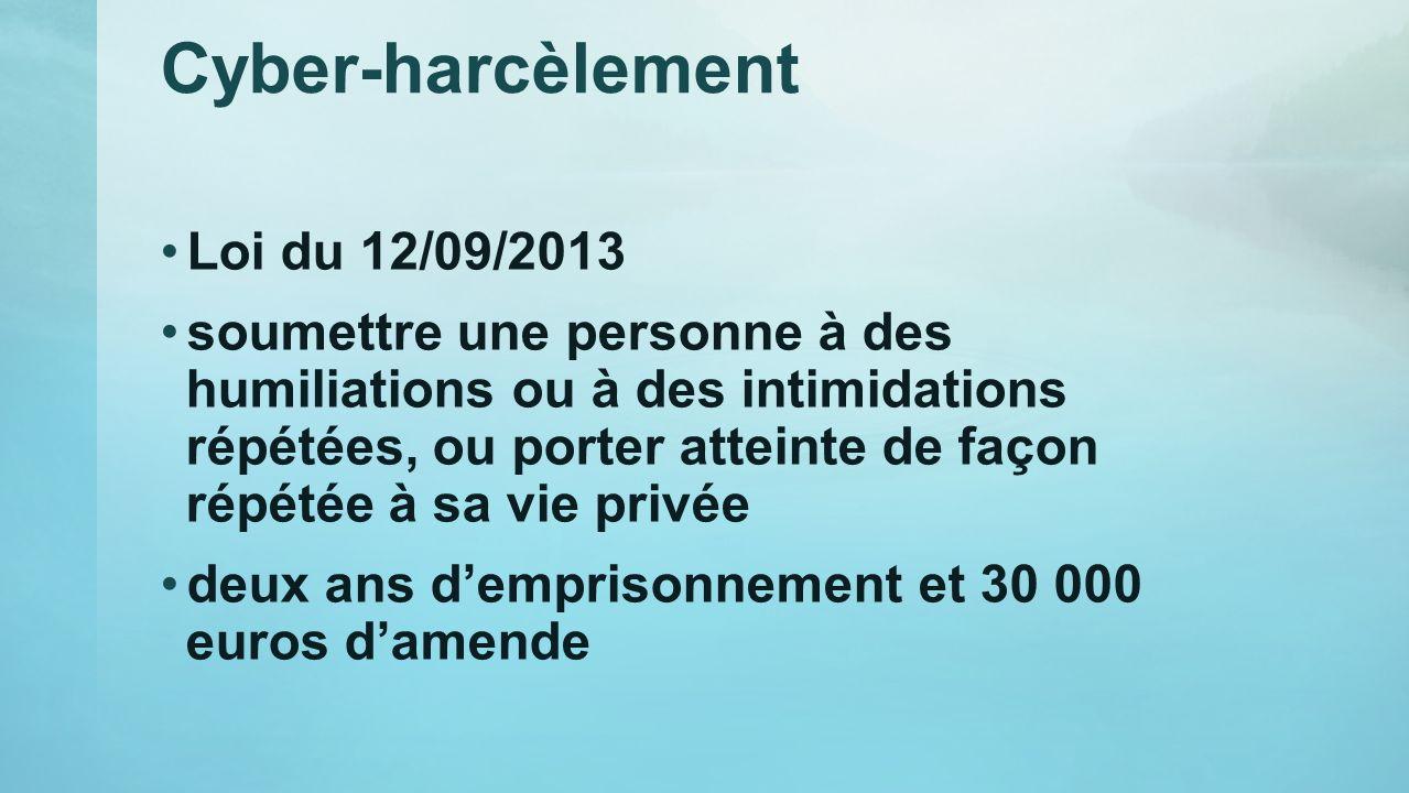 Cyber-harcèlement Loi du 12/09/2013