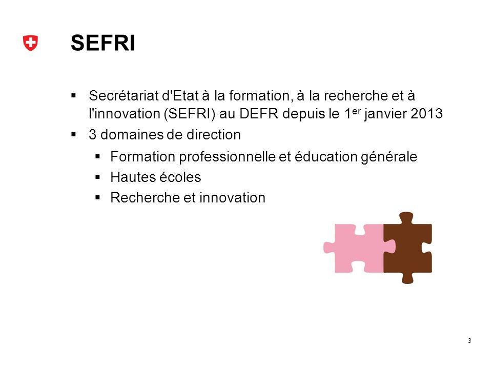 SEFRI Secrétariat d Etat à la formation, à la recherche et à l innovation (SEFRI) au DEFR depuis le 1er janvier 2013.