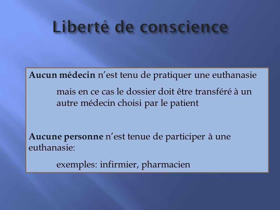 Liberté de conscience Aucun médecin n'est tenu de pratiquer une euthanasie.