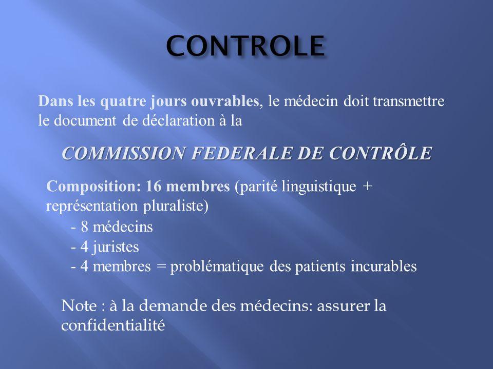 COMMISSION FEDERALE DE CONTRÔLE