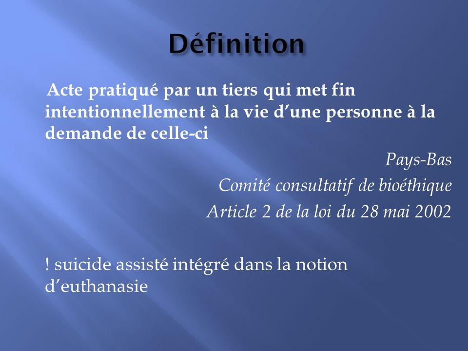 Définition Acte pratiqué par un tiers qui met fin intentionnellement à la vie d'une personne à la demande de celle-ci.