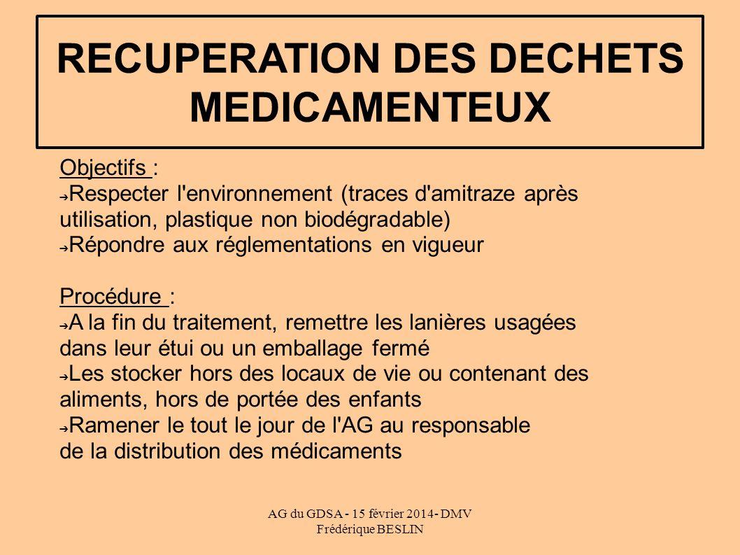 RECUPERATION DES DECHETS MEDICAMENTEUX