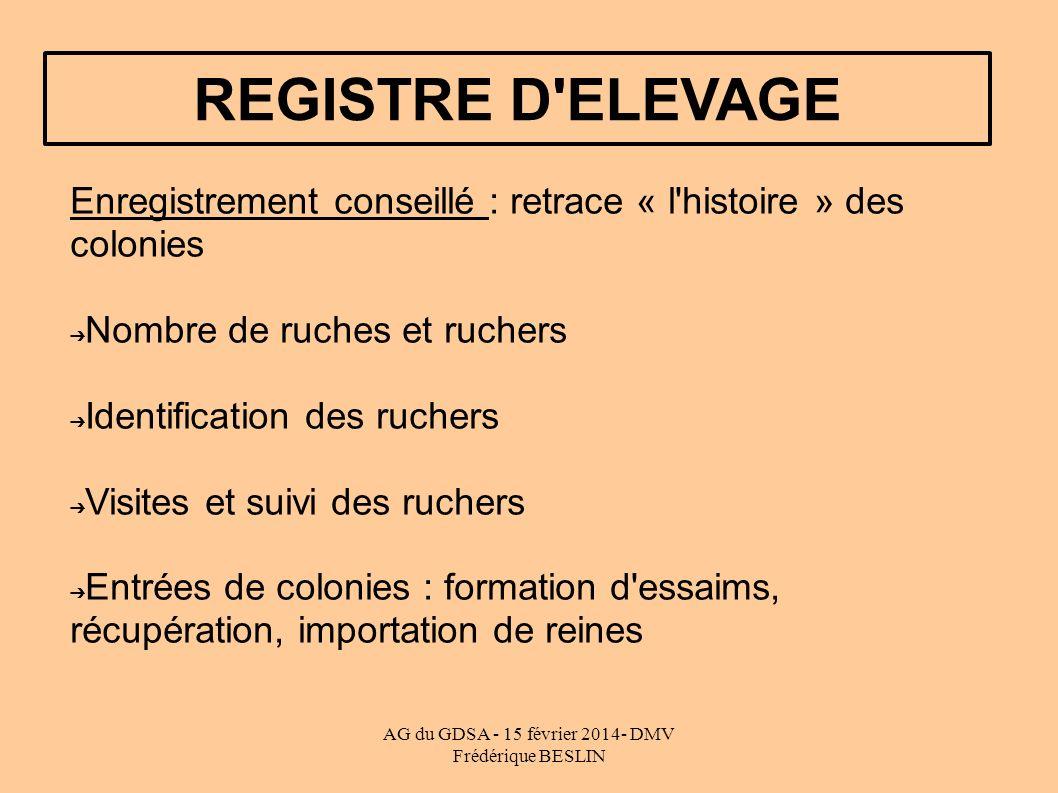 AG du GDSA - 15 février 2014- DMV Frédérique BESLIN