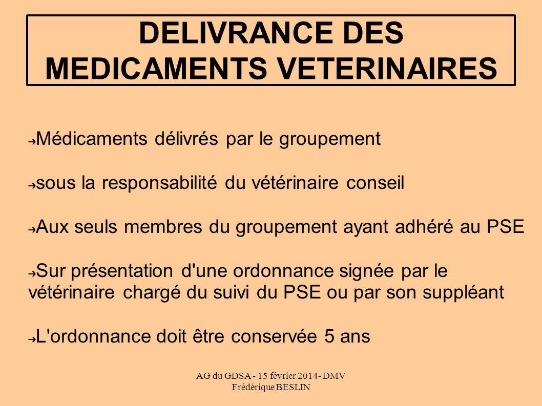 DELIVRANCE DES MEDICAMENTS VETERINAIRES