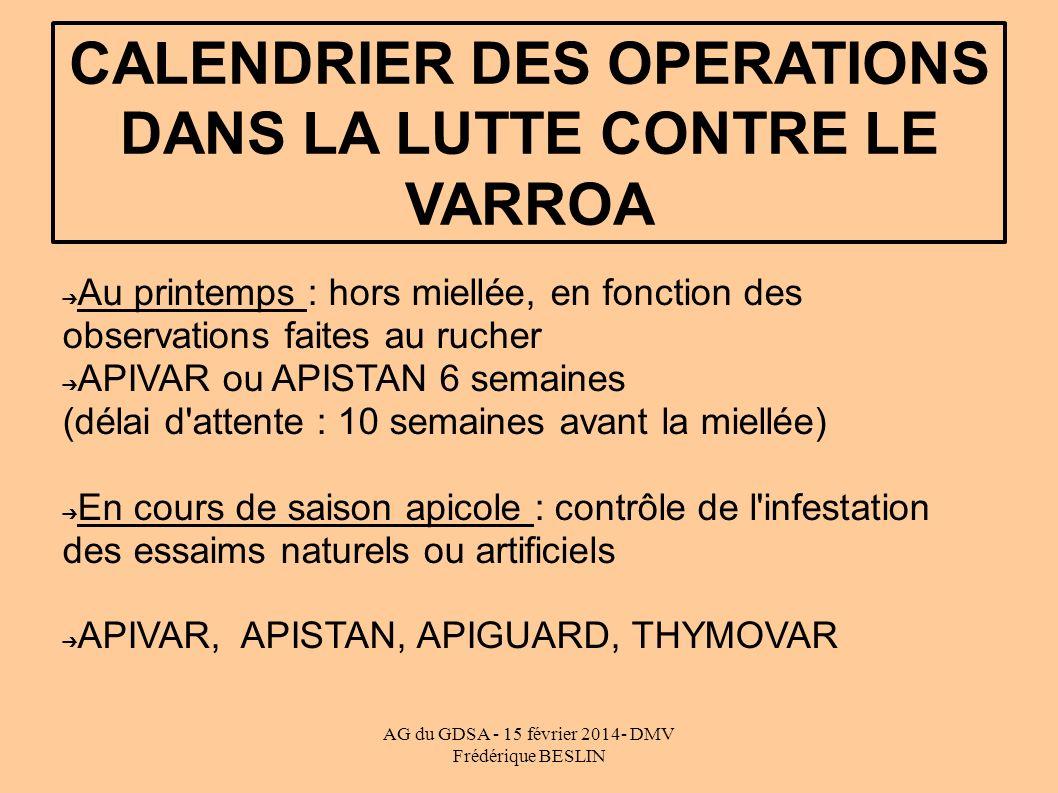 CALENDRIER DES OPERATIONS DANS LA LUTTE CONTRE LE VARROA