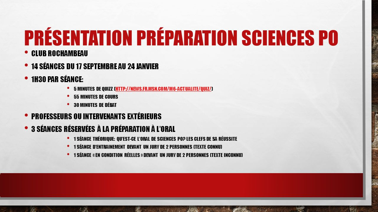 PRÉSENTATION PRÉPARATION SCIENCES PO