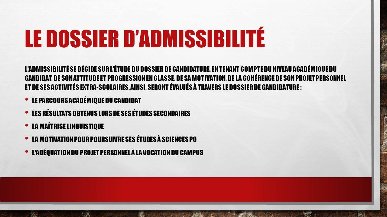 Le dossier d'admissibilité