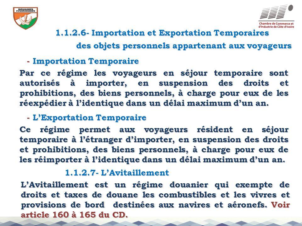 1.1.2.6- Importation et Exportation Temporaires