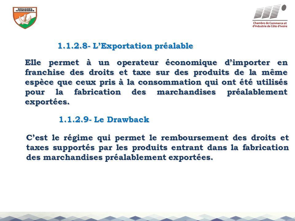 1.1.2.8- L'Exportation préalable