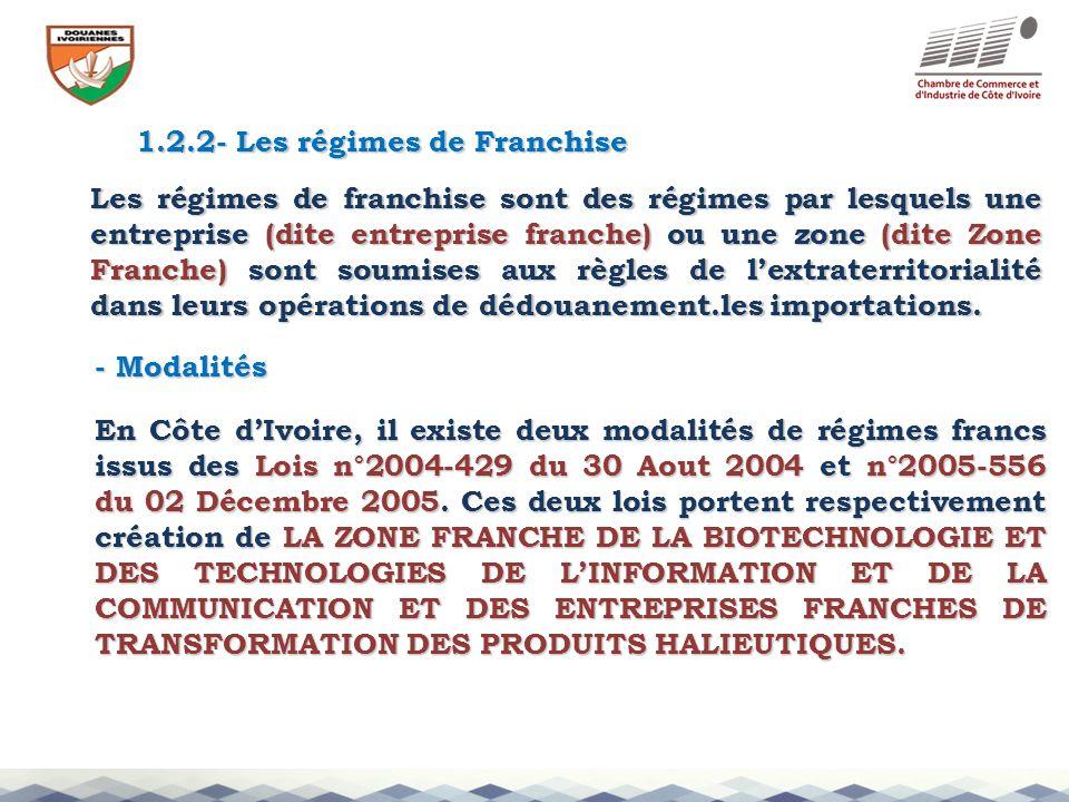 1.2.2- Les régimes de Franchise