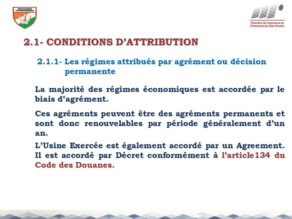 2.1- CONDITIONS D'ATTRIBUTION