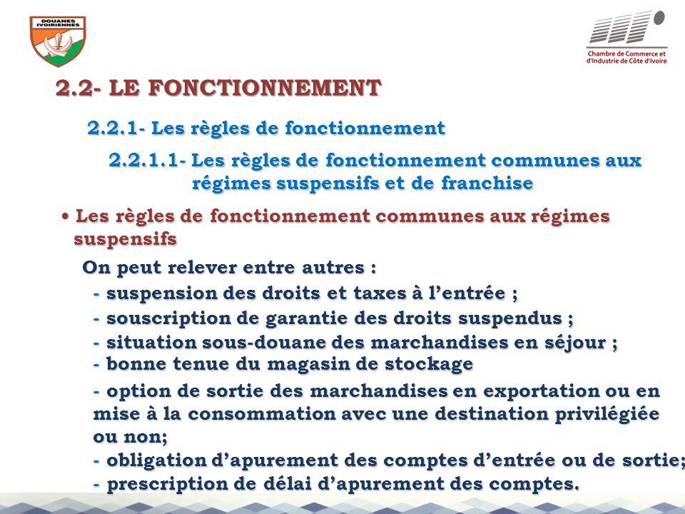 2.2- LE FONCTIONNEMENT 2.2.1- Les règles de fonctionnement