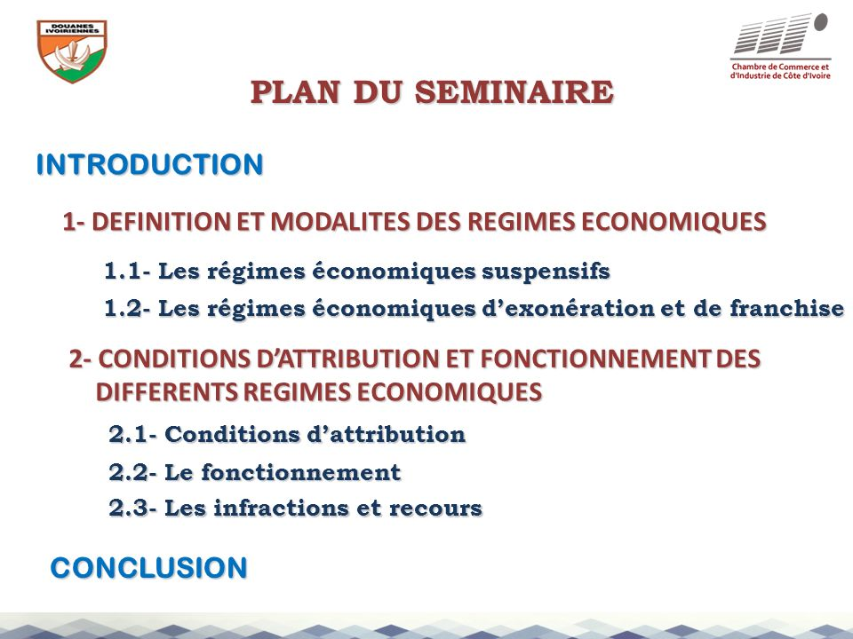 PLAN DU SEMINAIRE INTRODUCTION