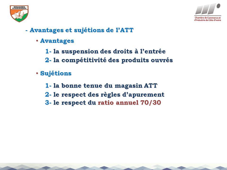 - Avantages et sujétions de l'ATT