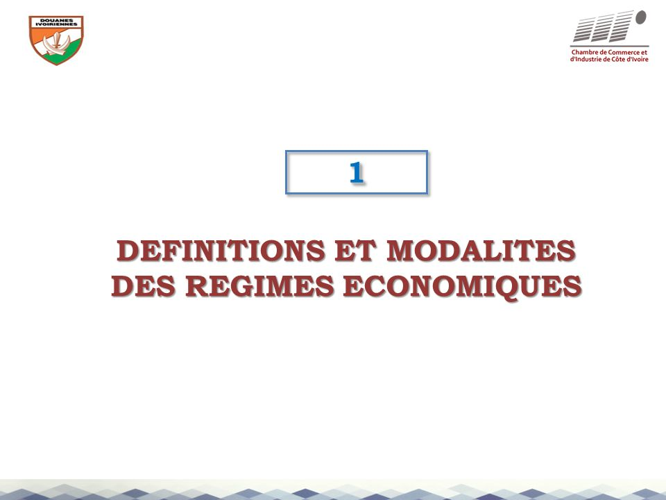 DEFINITIONS ET MODALITES DES REGIMES ECONOMIQUES