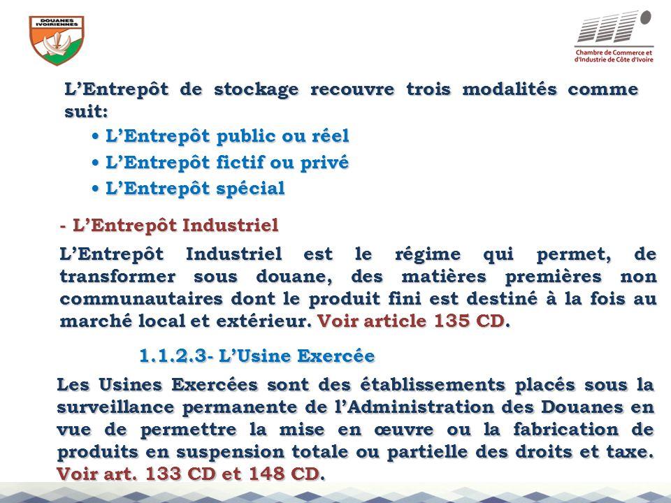 L'Entrepôt de stockage recouvre trois modalités comme suit: