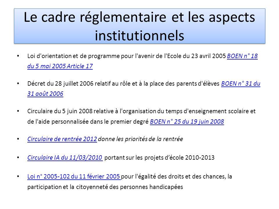 Le cadre réglementaire et les aspects institutionnels