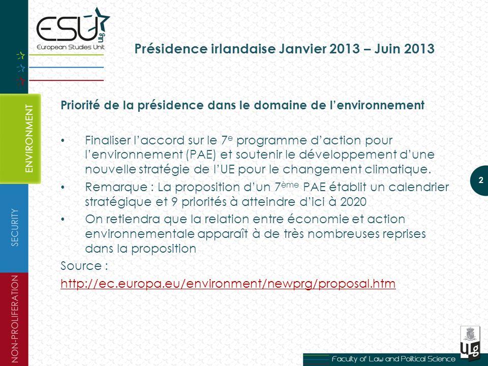 Présidence irlandaise Janvier 2013 – Juin 2013