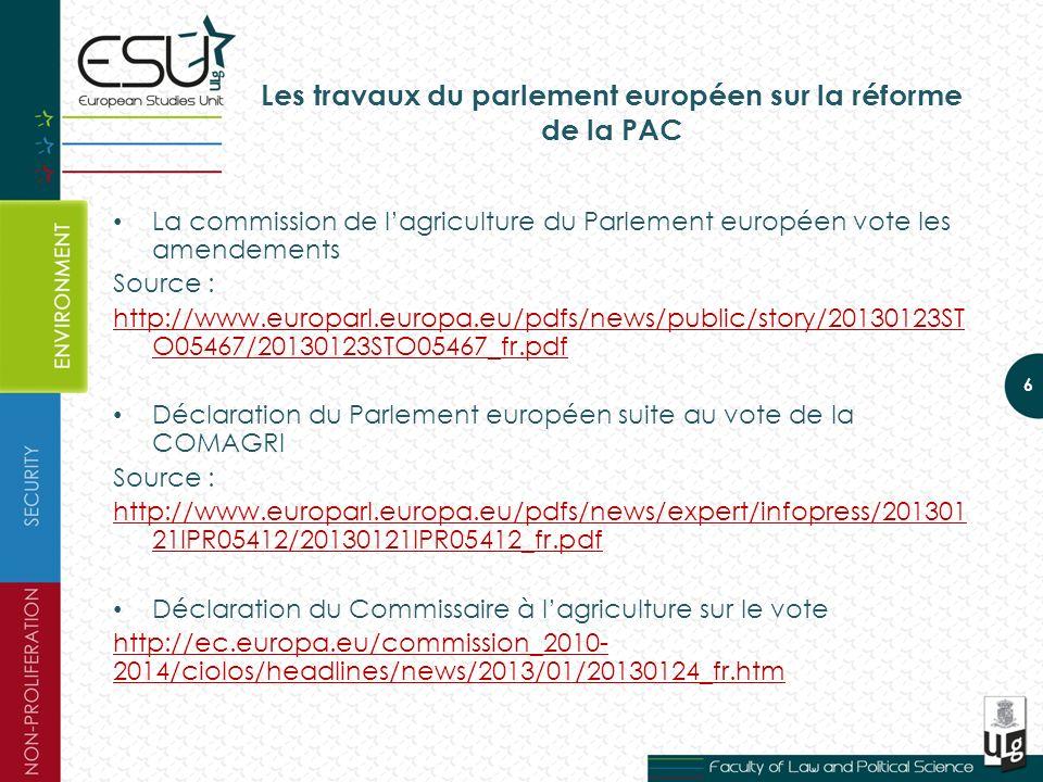 Les travaux du parlement européen sur la réforme de la PAC