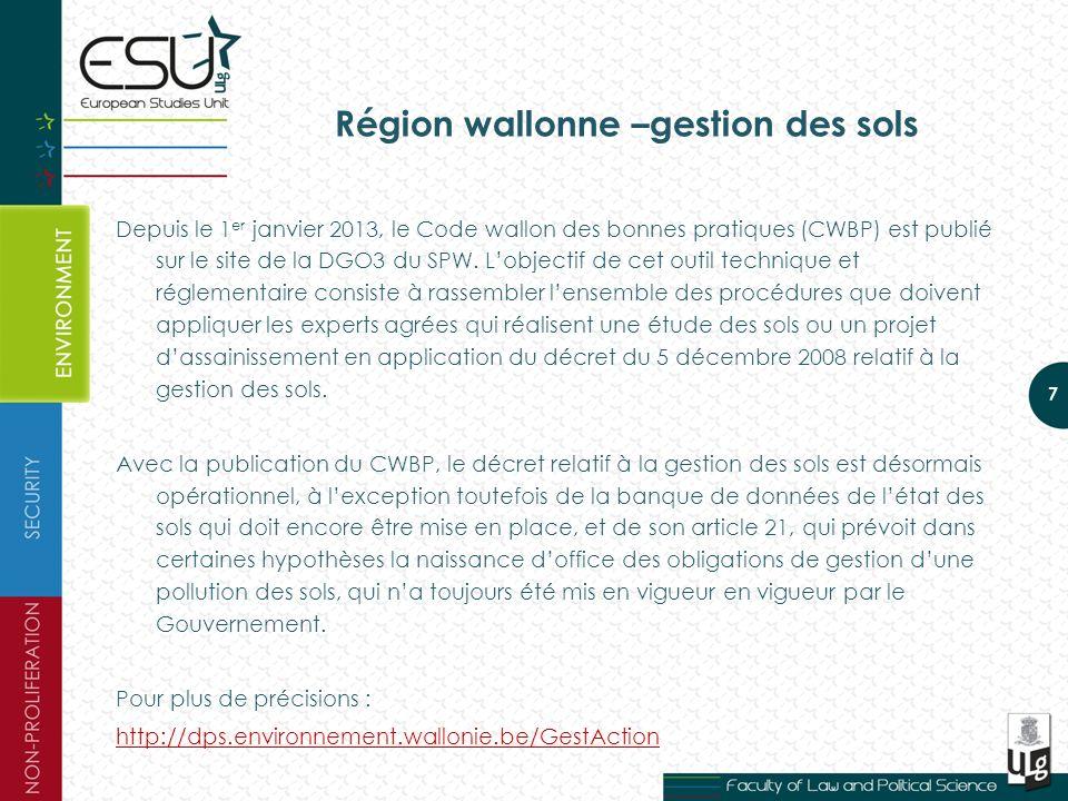 Région wallonne –gestion des sols