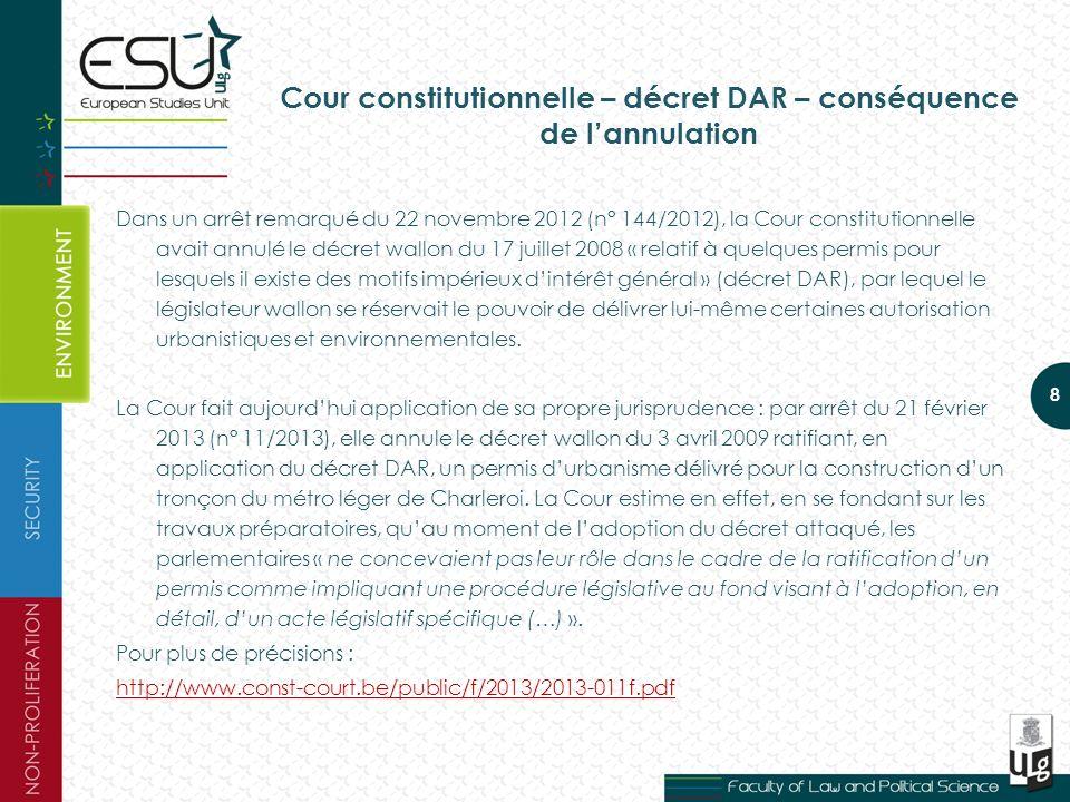 Cour constitutionnelle – décret DAR – conséquence de l'annulation
