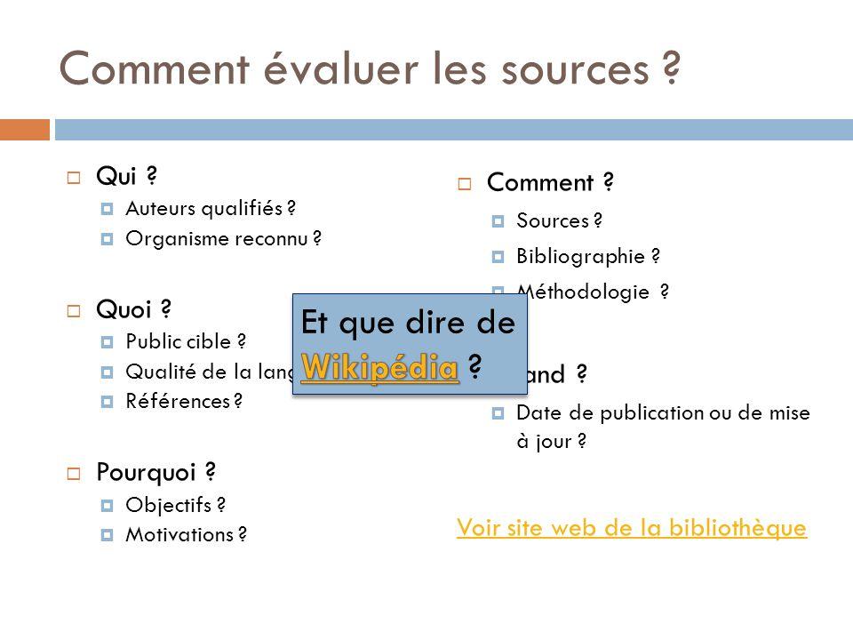 Comment évaluer les sources