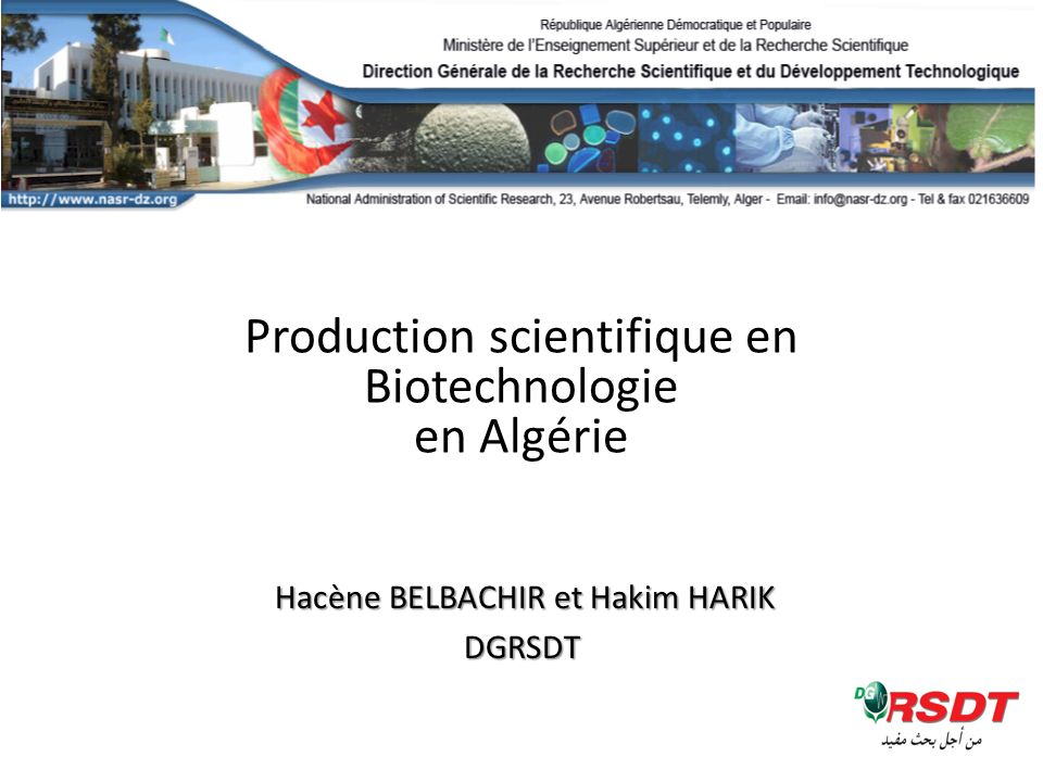 Production scientifique en Biotechnologie en Algérie