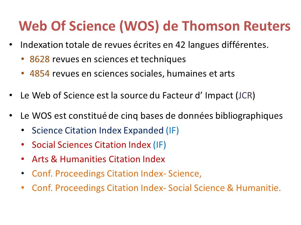 Web Of Science (WOS) de Thomson Reuters