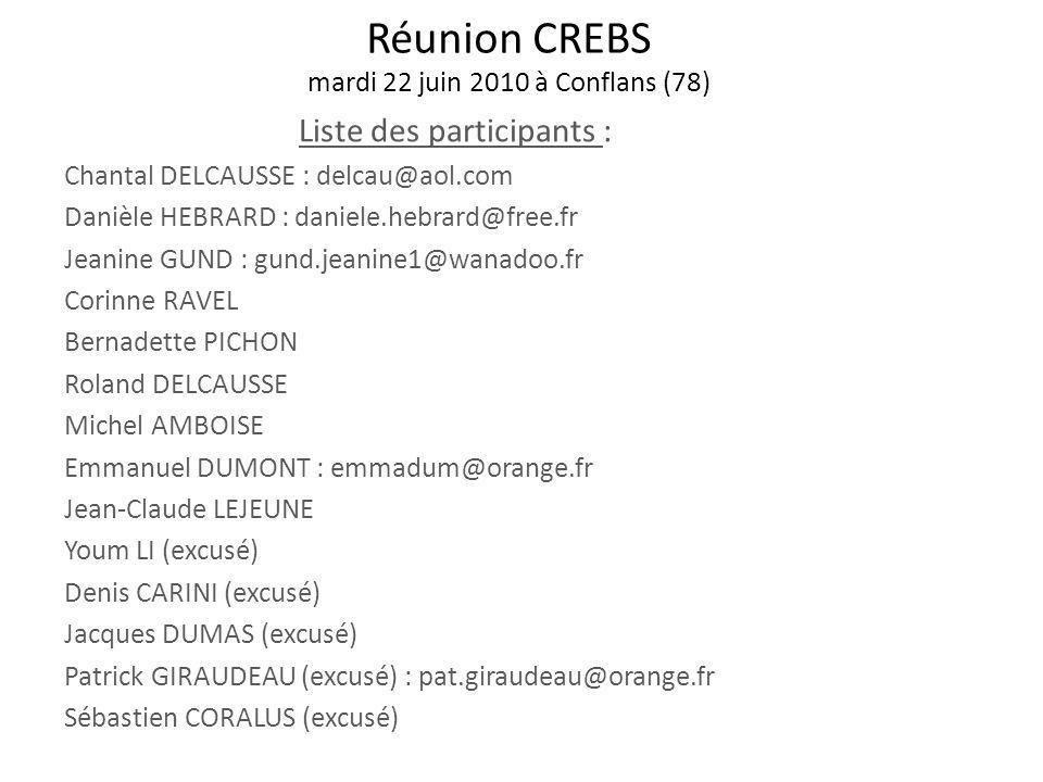Réunion CREBS mardi 22 juin 2010 à Conflans (78)