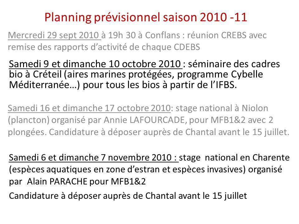 Planning prévisionnel saison 2010 -11