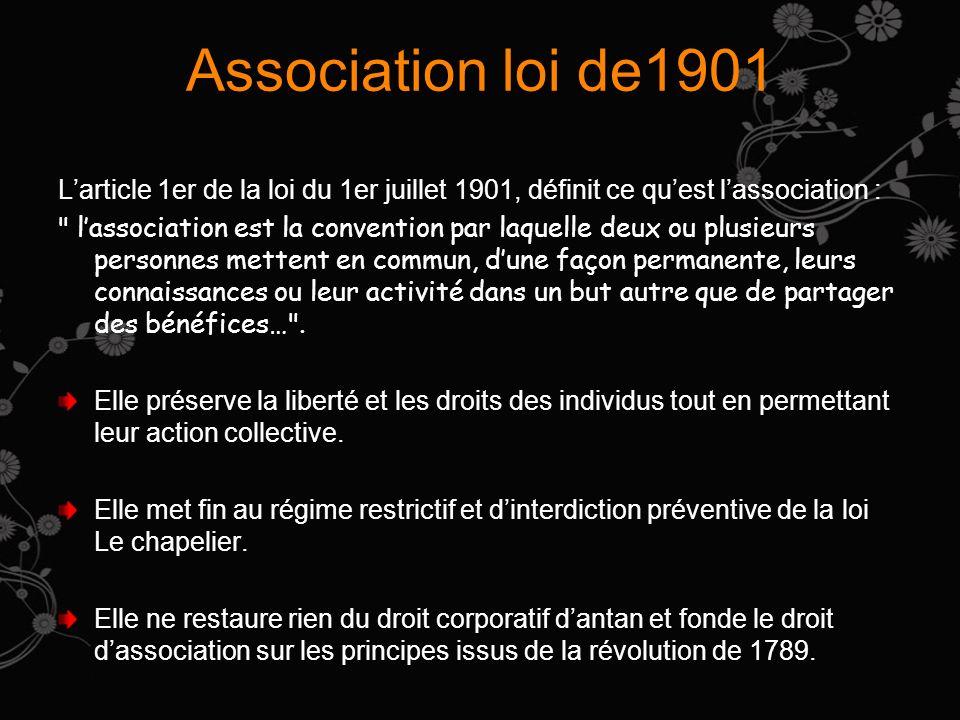 Association loi de1901 L'article 1er de la loi du 1er juillet 1901, définit ce qu'est l'association :