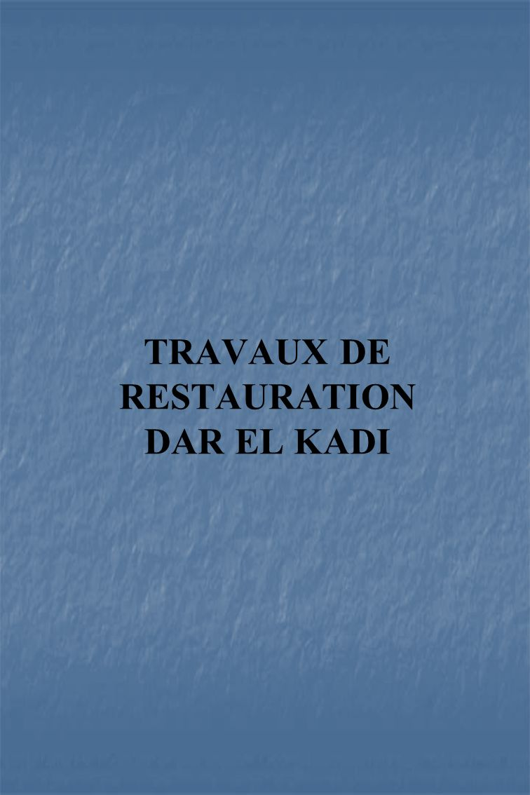 TRAVAUX DE RESTAURATION DAR EL KADI