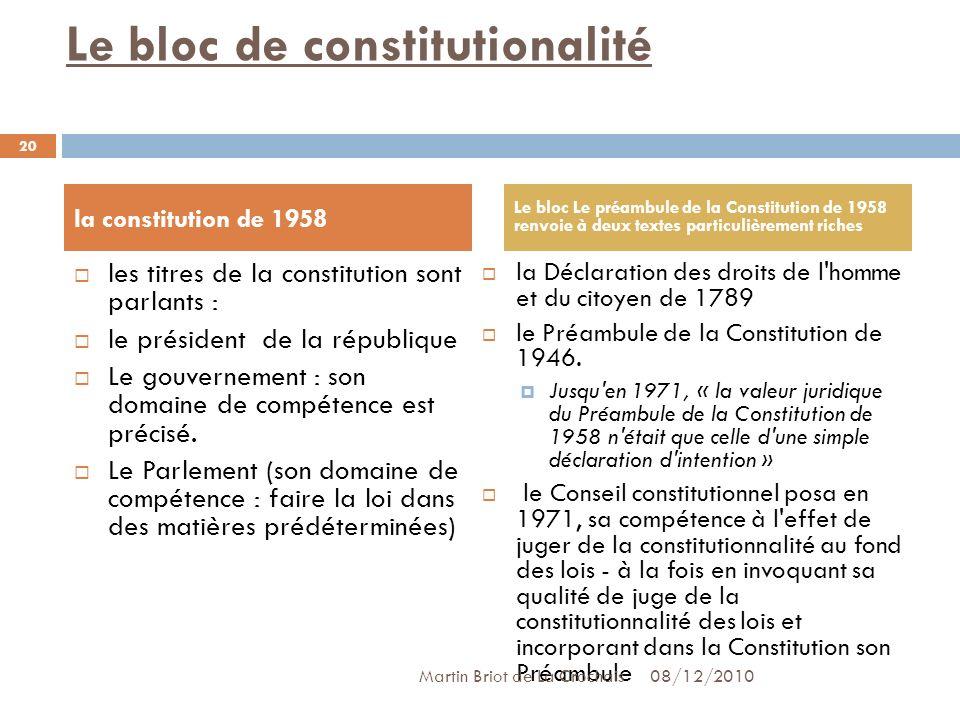 Le bloc de constitutionalité