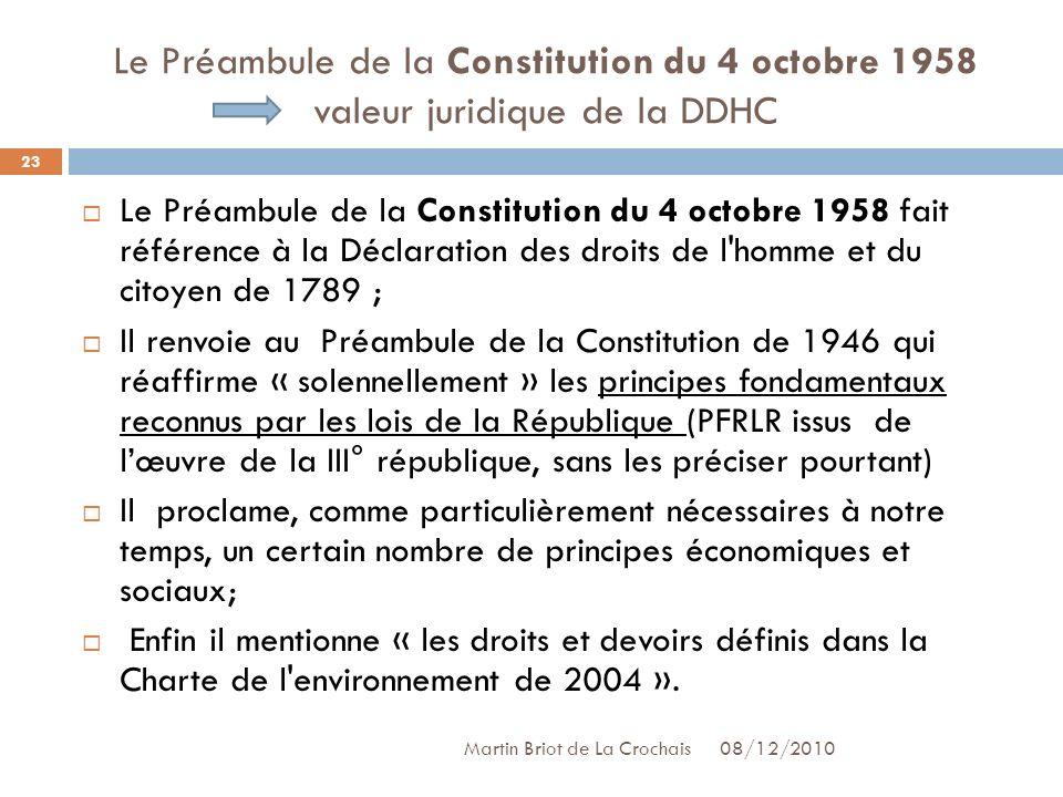 Le Préambule de la Constitution du 4 octobre 1958 valeur juridique de la DDHC