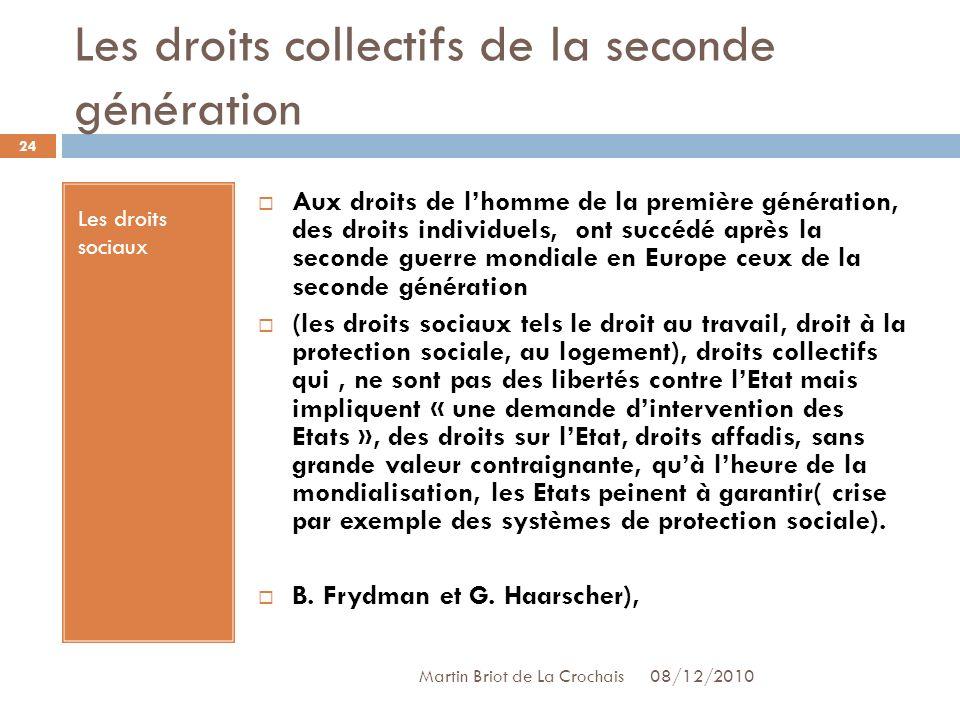 Les droits collectifs de la seconde génération