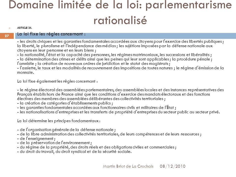 Domaine limitée de la loi: parlementarisme rationalisé
