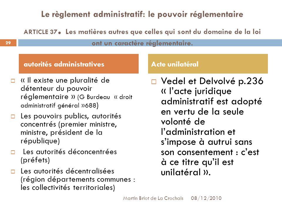 Le règlement administratif: le pouvoir réglementaire ARTICLE 37