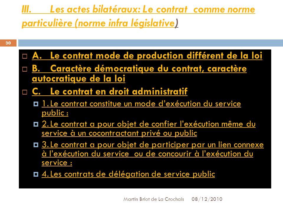 III. Les actes bilatéraux: Le contrat comme norme particulière (norme infra législative)