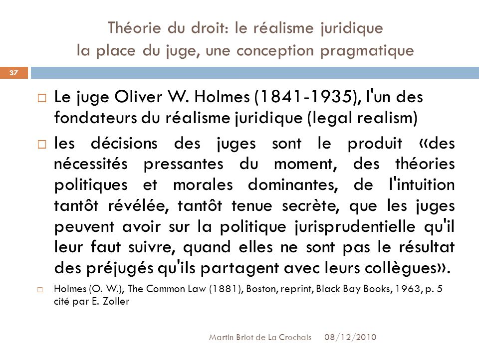 Théorie du droit: le réalisme juridique la place du juge, une conception pragmatique
