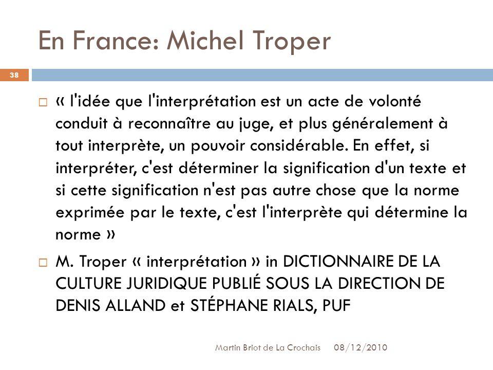 En France: Michel Troper