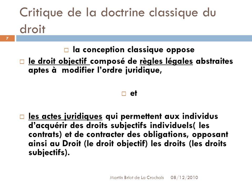 Critique de la doctrine classique du droit