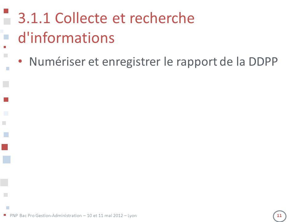 3.1.1 Collecte et recherche d informations