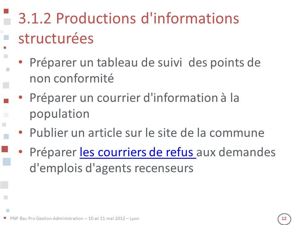 3.1.2 Productions d informations structurées