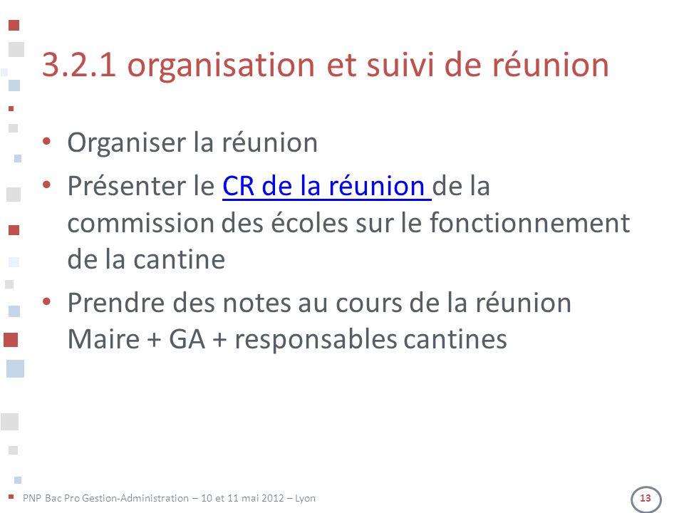 3.2.1 organisation et suivi de réunion