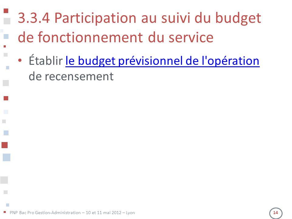 3.3.4 Participation au suivi du budget de fonctionnement du service